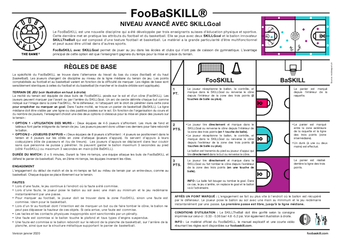 FooBaSKILL règles niveau avancé avec SKILLGoal