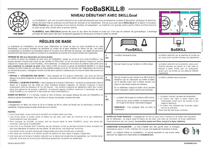 FooBaSKILL règles niveau débutant avec SKILLGoal